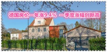 德国房价一年涨9.4%  一季度涨幅创新高