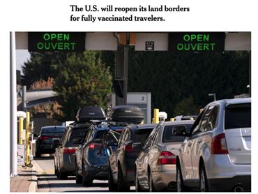 美加陆路边境11月重开,打完2针可入境!